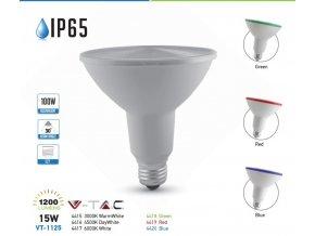 E27 LED Žárovka 15W, PAR38, IP65 (Farba Modrá)